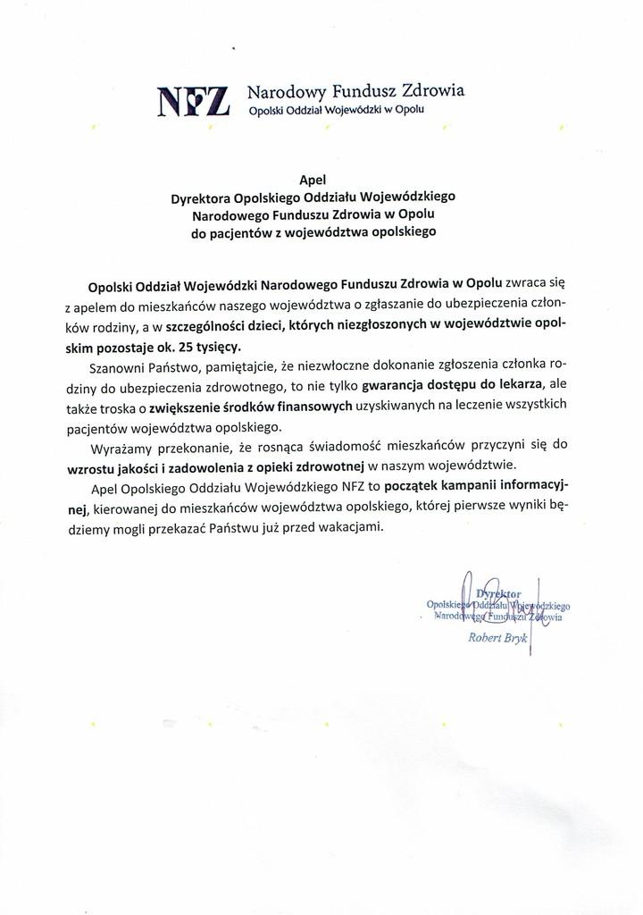 Apel Dyrektora Oddziału Wojewódzkiego NFZ w Opolu dla pacjentów z województwa opolskiego