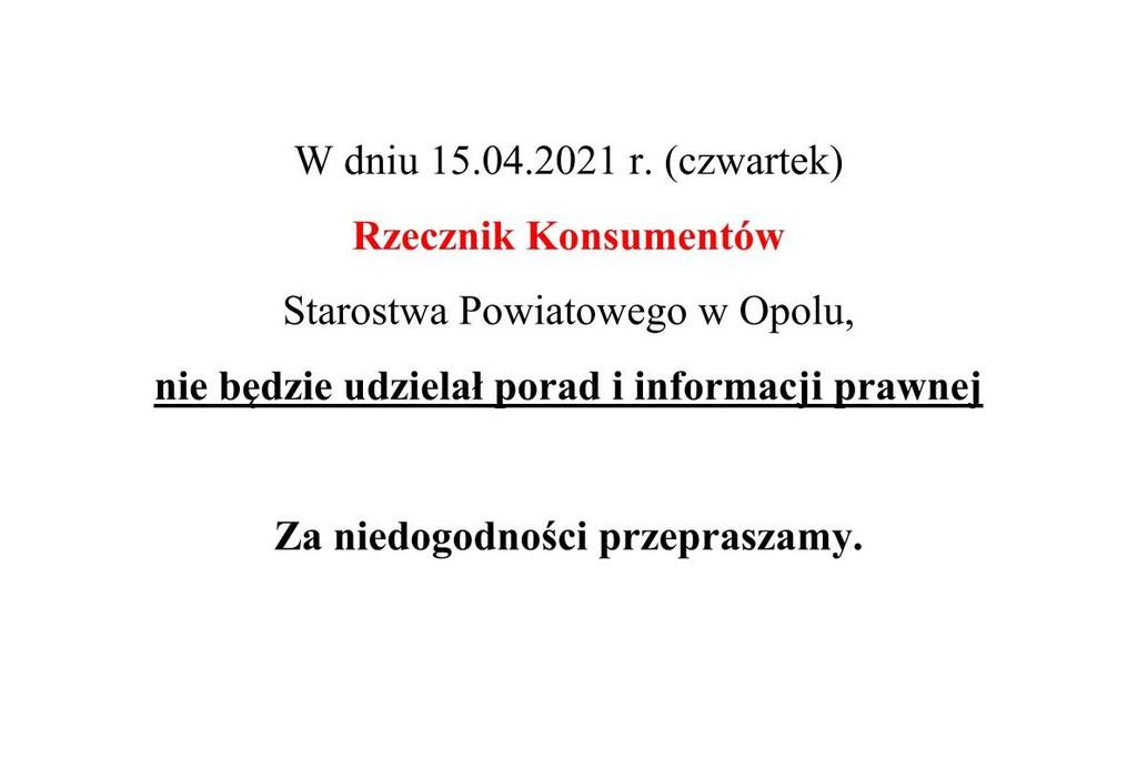Nieobecność Rzecznika Konsumentów 15.04.2021