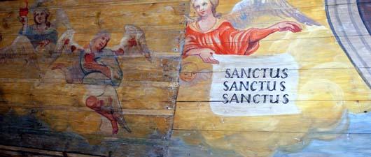 Polichromia w kościele św. Jadwigi w Bierdzanach.